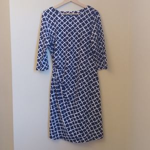 J. McLaughlin Catalina Cloth Blue White Dress L